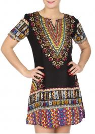 Wholesale K81D Embroidery stitches short dress BEIGE