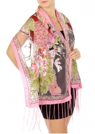 wholesale I49 Peacock flower burnout scarf Black