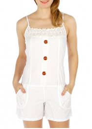 Wholesale O28B Button Accent Romper WHITE