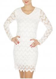 Wholesale M23C Long sleeves scoop eyelet dress White