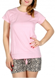 Wholesale F08C Solid t-shirts & animal print shorts pj set Light Pink