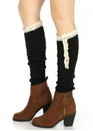 Wholesale T09 Embellished ribbed knit leg warmer Black