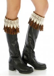 Wholesale N38 Faux suede fringe boot cuff Brown/White