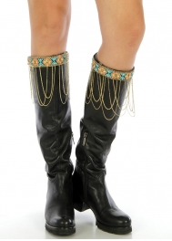 Wholesale Q04 Embellished chain drape boot cuff AGMT