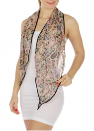 wholesale Black border paisley print skinny scarf BK fashionunic