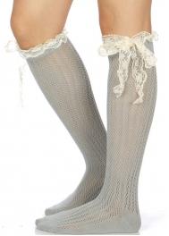 Wholesale I12B Crochet & lace bow knee high socks GR