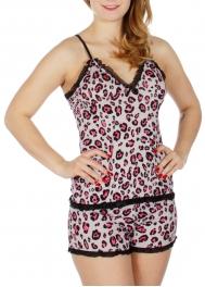 Wholesale K62B Animal print laced camisole & shorts pj set Black/White