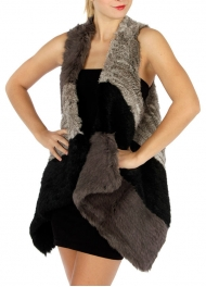 wholesale M21 Natural rabbit fur color block vest BK
