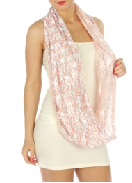 wholesale K88 2 layered lace floral infinity scarf Coral