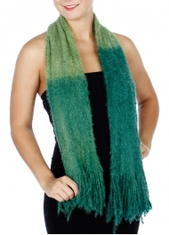 wholesale P11E Soft Furry Scarf w/ Fringes Black