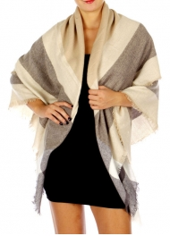 Wholesale O04D Soft Stripes and Checkered Mix Scarf Beige