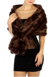 wholesale E14 Solid faux fur insert shawl BR fashionunic