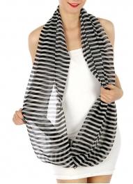 wholesale H42 Sheer stripe infinity Scarf Black