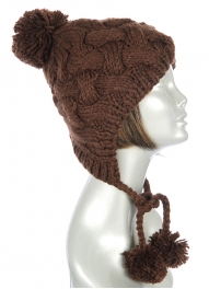Wholesale S50 Solid hand knit trapper hat Brown