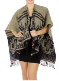 Wholesale R04B Aztec Design reversible ruana BG