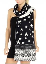 wholesale P07 Reversible snowflake knit scarf NV