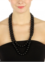 wholesale N43 12mm 60 inch knot pearl long necklace Black