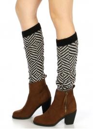 Wholesale T09 Chevron striped leg warmer Black