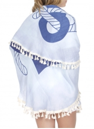 Wholesale T21C Anchor round beach blanket w/ tassel fringe