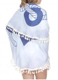 Wholesale T21C Anchor round beach blanket w/ tassel fringe