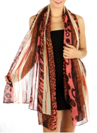 wholesale B05 Multi Animal and Combination Scarf Coral