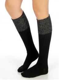 Wholesale S60 Metallic foldover cotton knee high socks Black