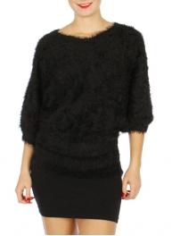 Wholesale M21B Super Soft Furry Sweater Black