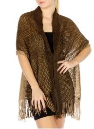 wholesale E15 Honeycomb 2 tone knit Shawl BR/BG