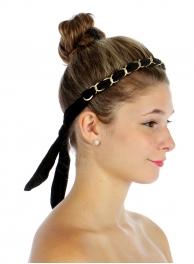 wholesale L25 Velvet headband wrap w/chain Black
