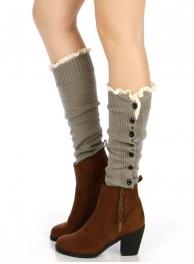 wholesale Q81 Bottoned lace top leg warmers Grey