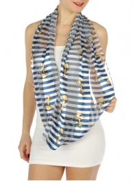 wholesale H45 Anchor w/ rope infinity scarf Navy