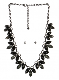 wholesale Pointed stone necklace set BKBD fashionunic
