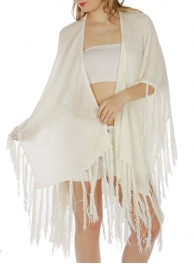 Wholesale H09 Long fringed light woven Kimono Off White