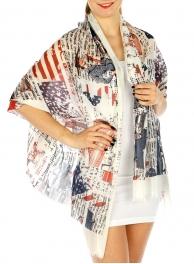 Wholesale H05E Cotton blend vintage american flag scarf FL