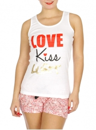 "Wholesale U37B ""Love, Kiss, Lust"" 2pcs tank/shorts PJ set White"