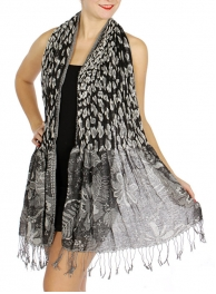 Wholesale S76 Stretchy nature print scarf Black