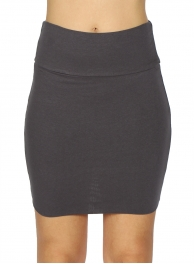 wholesale A11 Cotton blend solid mini skirt Black