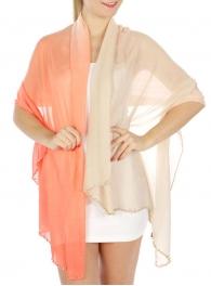wholesale Two tone embellished edge scarf Coral fashionunic