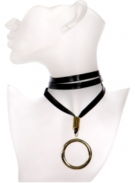 Wholesale WA00 Thick leather wrap choker w/ large ring pendant GDBLK
