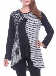 Wholesale K81B High-low patchwork tunic top BLACK