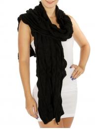 wholesale E15 Solid Bubble Knit Scarf BK fashionunic