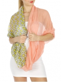 wholesale H40 Honeycomb infinity scarf Light Pink