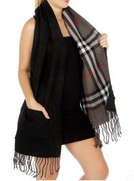 Wholesale S32 Reversible plaid solid pocket scarf Black