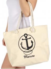 Wholesale T25C Anchor print beach bag BEIGE