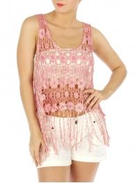 wholesale M06 Cotton floral crochet feel top GY