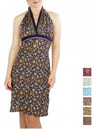 Wholesale O01B Halter Neck Flower Dress