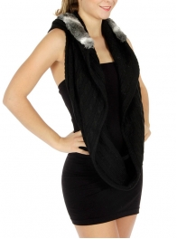 wholesale S08 Solid Knit infinity Scarf Hood Fur BK/GY