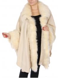 Wholesale Q14-1 Large faux fur wrap Light Beige