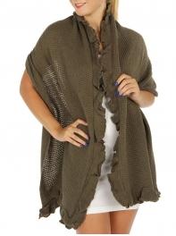 wholesale O49 Thicker Knit Ruffle Shawl OV fashionunic