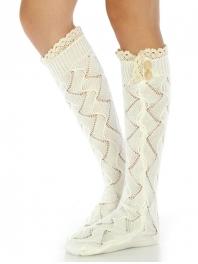 Wholesale Q22 Crochet detail open hole socks White